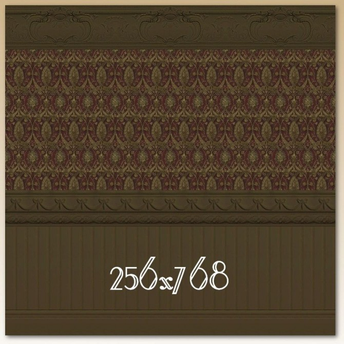 Red Damask Wall with Dark Molding by Christine11778 at Mod The Sims image 93111 Sims 4 Updates