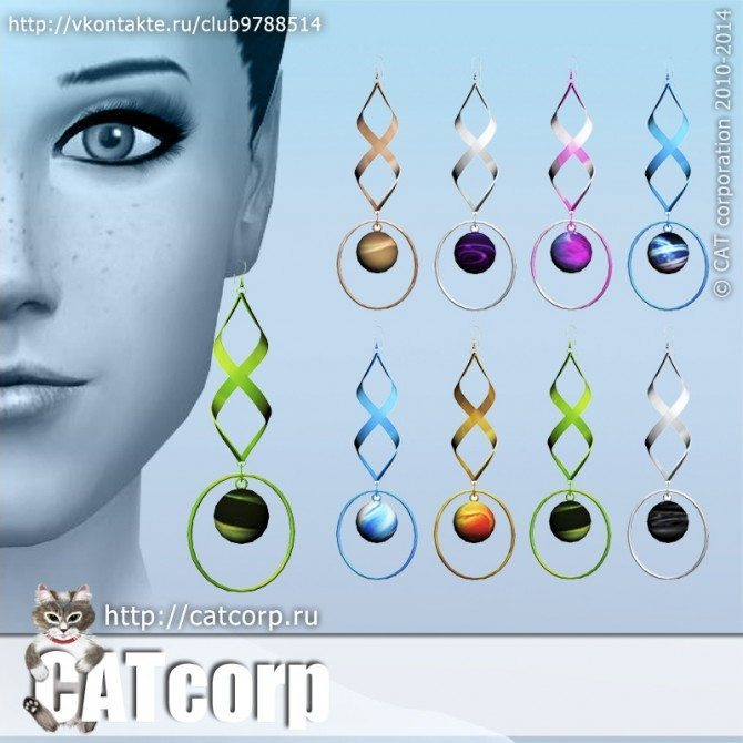Earrings Metal Set Abstract at CATcorp image 9501 Sims 4 Updates