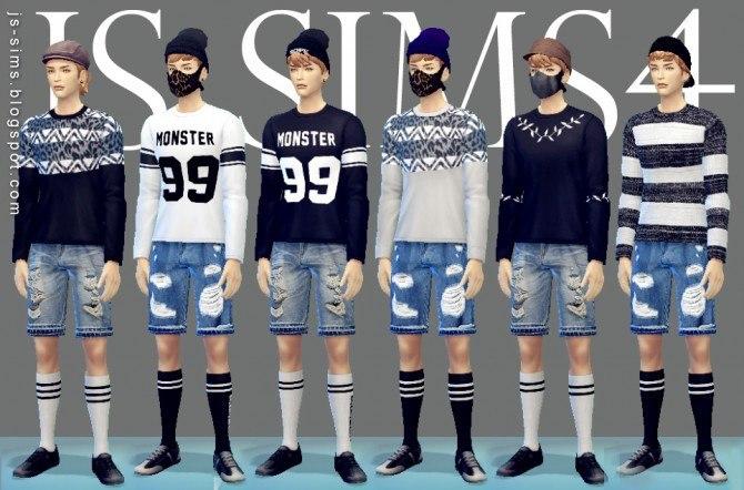 Long Sleeve Tee + Ripped Denim Shorts + Varsity Socks at JS Sims 4 image 9519 Sims 4 Updates