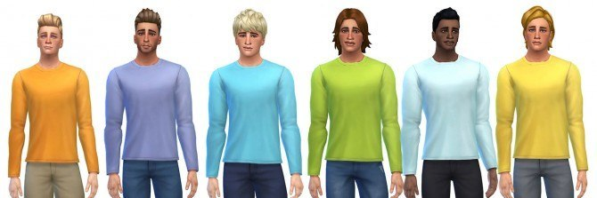 Sims 4 24 long sleeve t shirts recolors at OnePracticalGhost