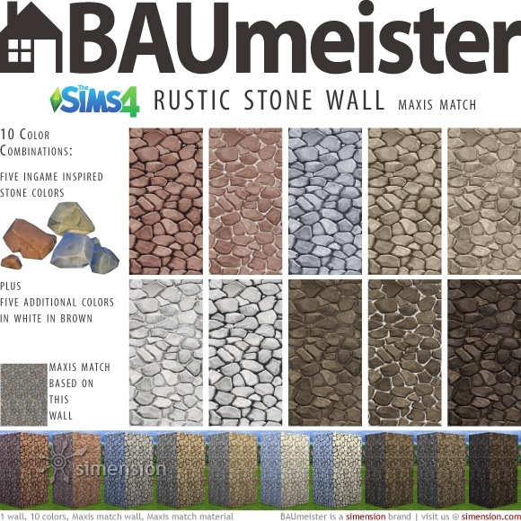 Sims 4 BAUmeister Rustic Stone Wall Maxis at Simension