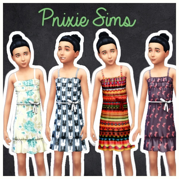 4 Dress with patterns and belt at Pnixie Sims image 9719 Sims 4 Updates