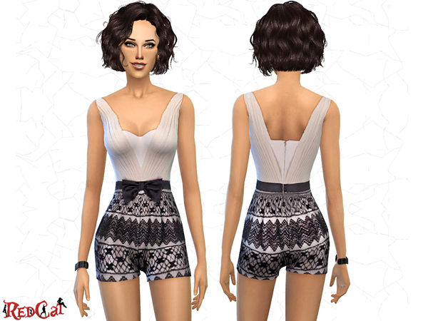 Sims 4 Lace Short Jumpsuit with Ribbon by RedCat at TSR