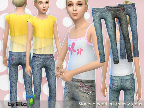 Sims 4 Stretch Denim with Stars & Hearts by lillka at TSR