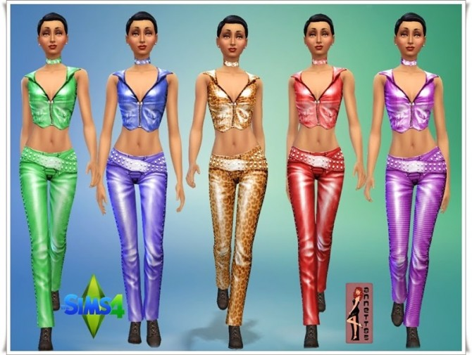 Sims 4 Leather Vest & Trousers at Annett's Sims 4 Welt