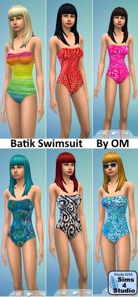 Sims 4 Batik Swimsuits by orangemittens at Sims 4 Studio