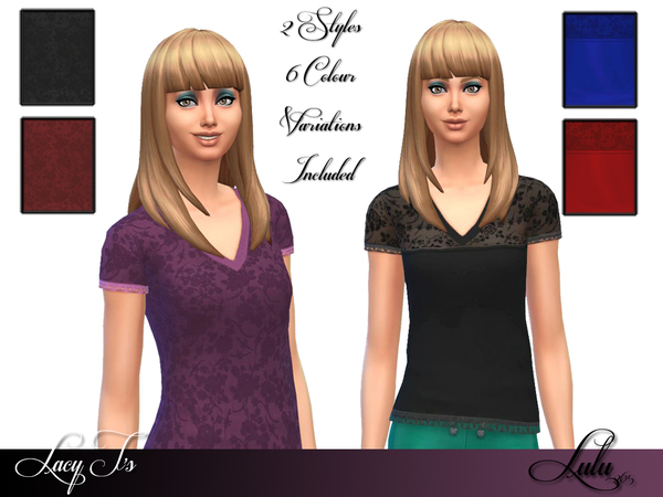 Sims 4 Lacy V Neck T by Lulu265 at TSR