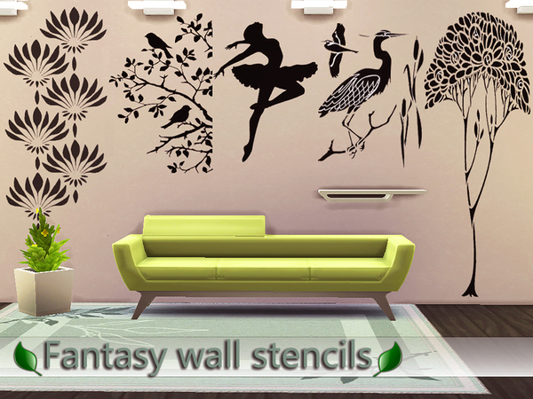 Sims 4 Fantasy wall stencils by Pinkzombiecupcakes at TSR