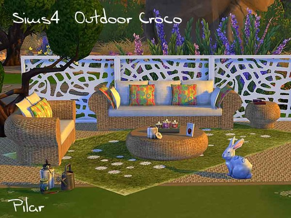 Outdoor croco rugs for pool by pilar at tsr sims 4 updates for Pool design sims 4