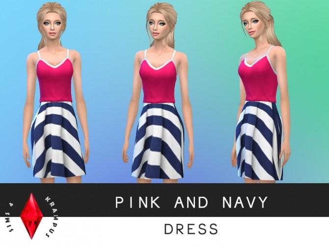 Sims 4 Pink and navy dress at Sims 4 Krampus