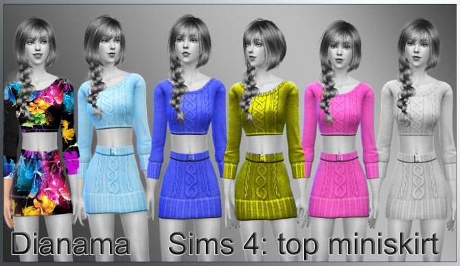 Sims 4 Outfit miniskirt and top at Saratella's Place