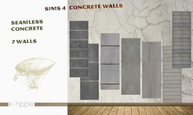 Sims 4 7 concrete walls vol.1 at K hippie