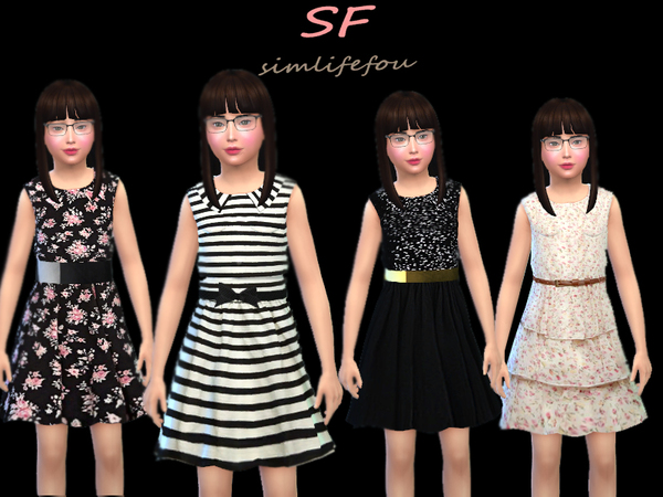 Sims 4 Cute Little Lady dress by foufouchouchou at TSR