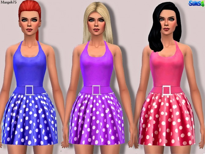Sims 4 Polka Halter Dress Posted by Margie at Sims Addictions