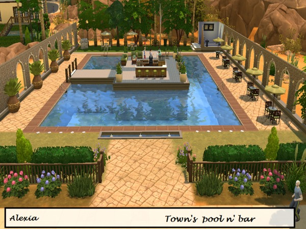 Town 39 s pool n 39 bar by alexiak123 at tsr sims 4 updates for Pool designs sims 4