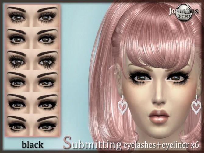 Sims 4 Eyeliner + eyelashes black x 6 at Jomsims Creations