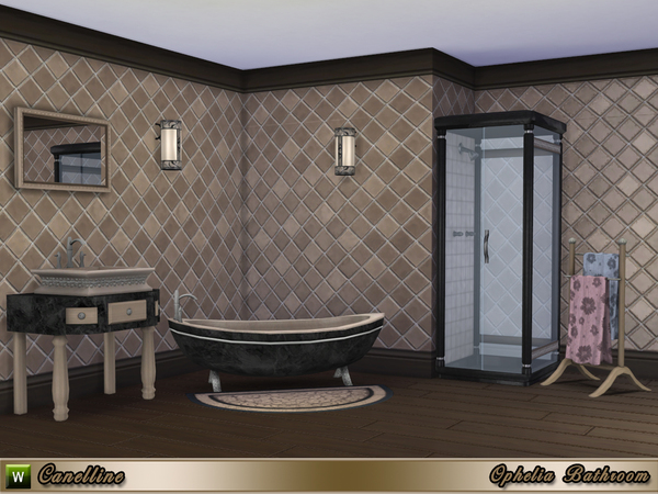 Sims 4 Ophelia Bathroom by Canelline at TSR