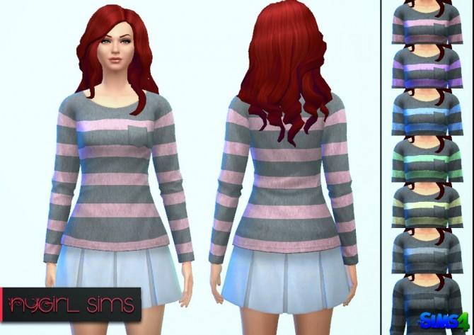 Sims 4 Pocket Striped Sweatshirt at NyGirl Sims
