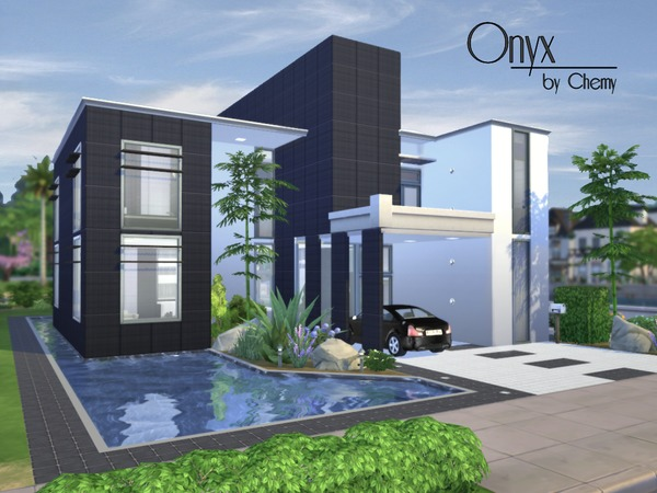 Sims 4 Onyx Modern house by Chemy at TSR