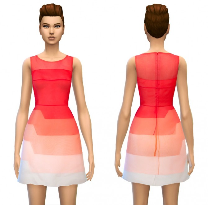 Color Tone/Fade Tiered Silk Dress in 4 styles at Sim4ny image 16021 Sims 4 Updates