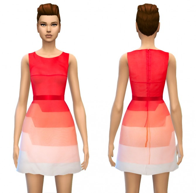 Color Tone/Fade Tiered Silk Dress in 4 styles at Sim4ny image 16111 Sims 4 Updates
