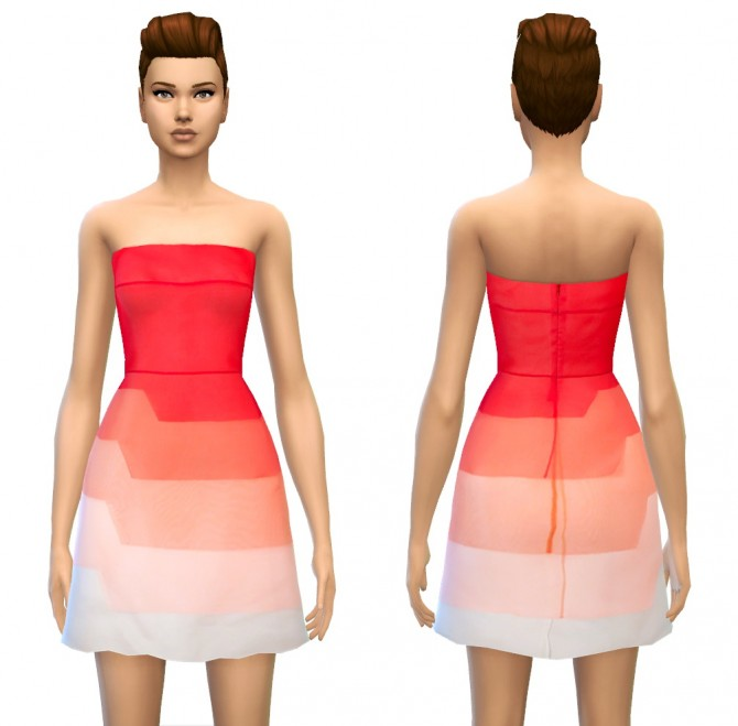 Sims 4 Color Tone/Fade Tiered Silk Dress in 4 styles at Sim4ny