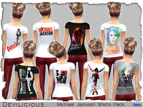 Michael Jackson Shirts Pack by Devilicious at TSR image 1633 Sims 4 Updates