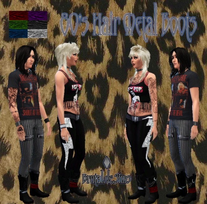 Sims 4 80s Hair Metal Boots at Brutal de Sims4