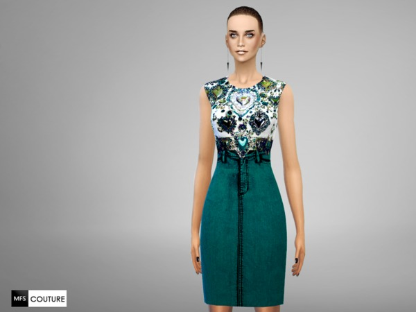 Sims 4 Embellished Dress by MissFortune at TSR