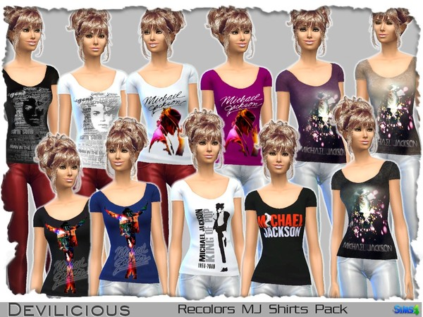 Michael Jackson Shirts Pack by Devilicious at TSR image 1737 Sims 4 Updates