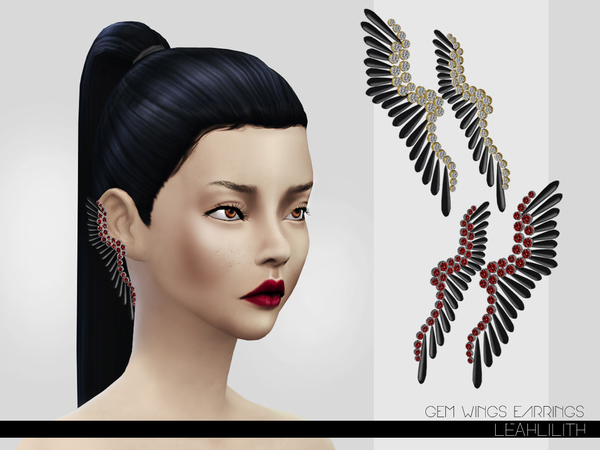 Sims 4 Gem Wings Earrings by LeahLillith at TSR