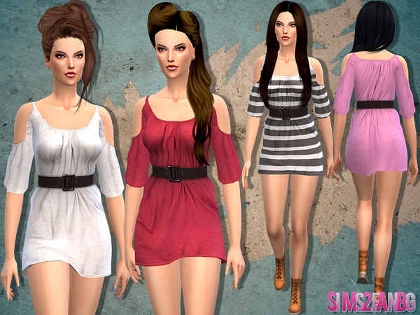 Sims 4 Dress with belt by sims2fanbg at TSR