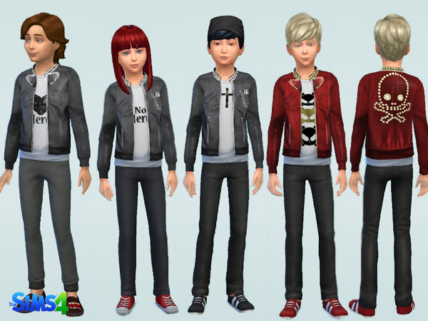 Sims 4 Kids Leather Jacket v2 by Kronronko at TSR