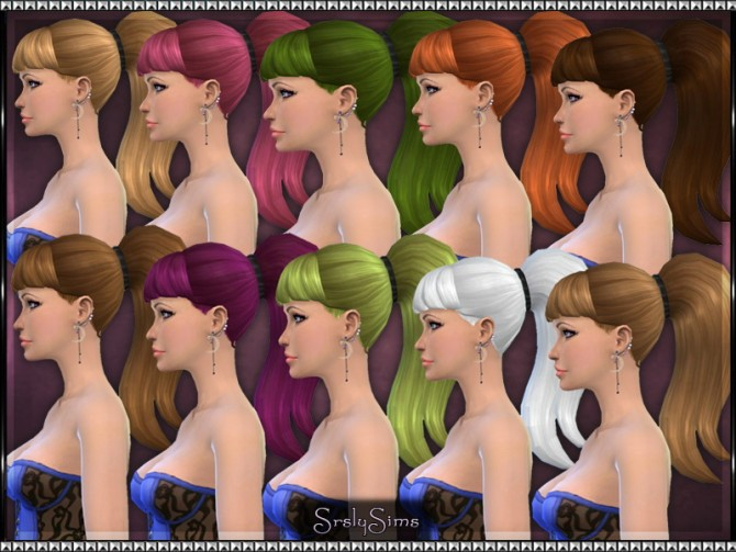 Sims 4 Long Ponytail Recolors at SrslySims