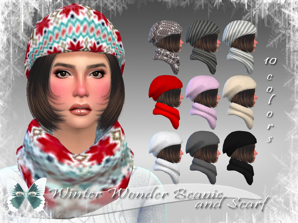 Winter Wonder Beanie and Scarf by Ms Blue at TSR image 208 Sims 4 Updates