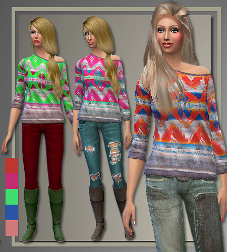 Fall 2014 sweaters, jeans and coat at All About Style image 2100 Sims 4 Updates