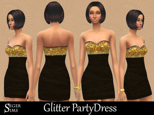 Sims 4 Glitter Party Dress by SegerSims at TSR