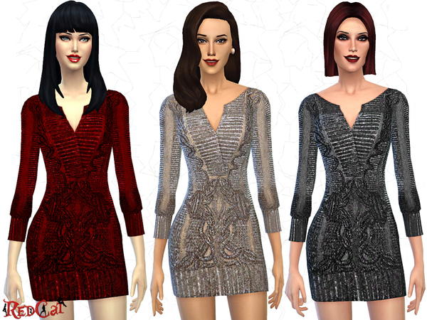 Sims 4 Metallic Embroidered Dress by RedCat at TSR