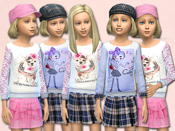 Sims 4 Melissa sweaters and skirts for kids by Pinkzombiecupcake at TSR