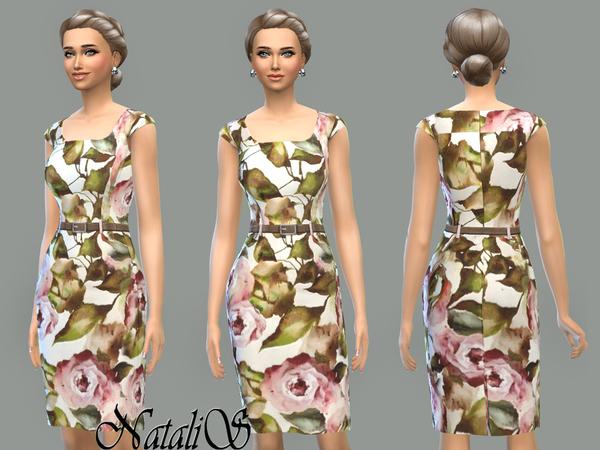 Rose printed dress by NataliS at TSR image 2225 Sims 4 Updates