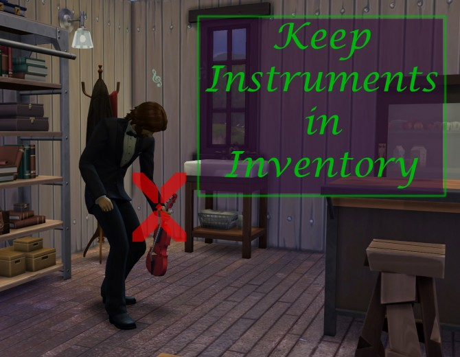 Sims 4 Keep Instruments in Inventory Mod by scumbumbo at Mod The Sims