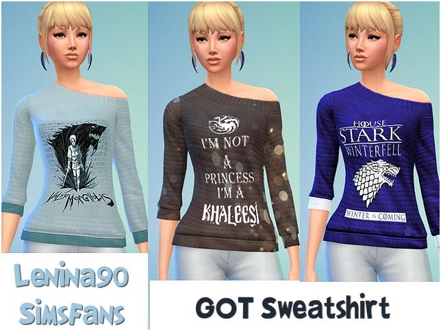 Sims 4 GOT Female Sweatshirt by lenina 90 at Sims Fans