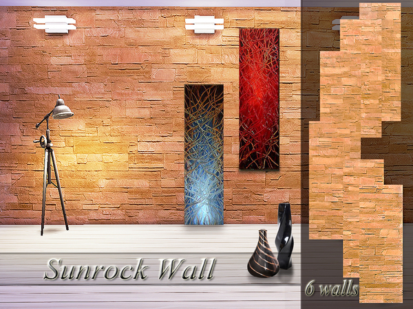 Sims 4 Sunrock Wall by Pinkzombiecupcakes at TSR