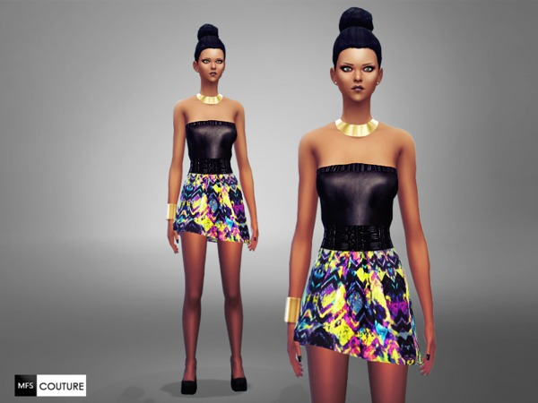 Sims 4 Vivid Mood Dress by MissFortune at TSR
