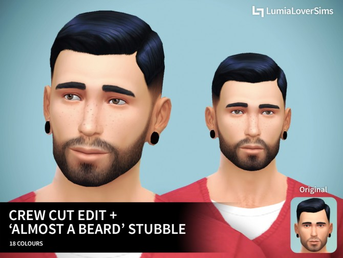 """Sims 4 Crew cut edit + """"Almost a beard"""" stubble at LumiaLover Sims"""