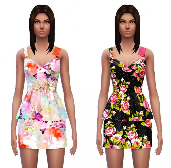 Floral Peplum Dress at Sim4ny image 3629 Sims 4 Updates