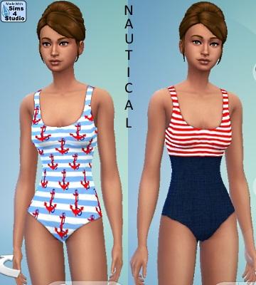 Sims 4 Nautical Swimsuit by orangemittens at Sims 4 Studio
