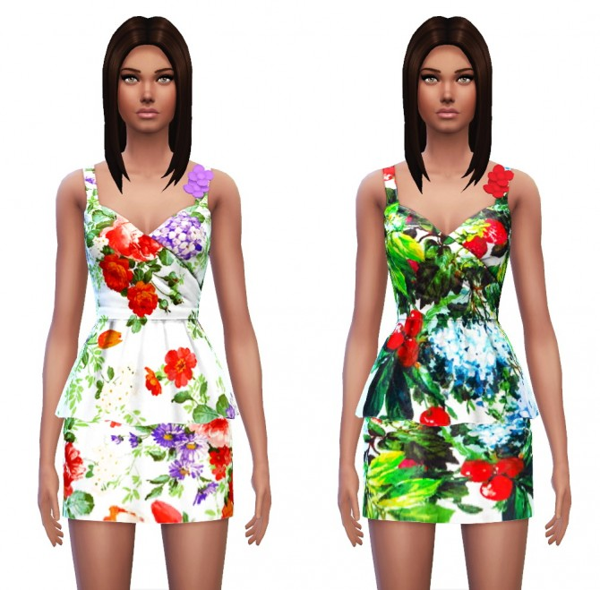Floral Peplum Dress at Sim4ny image 3825 Sims 4 Updates