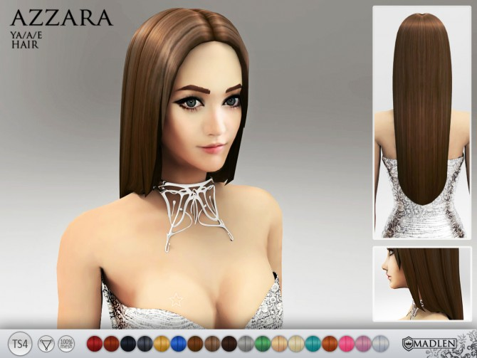 Sims 4 Azzara Hair at Madlen Sims