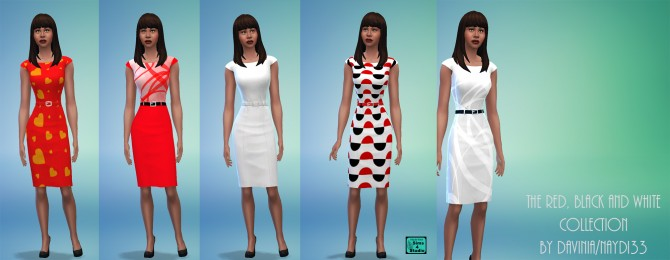 The Red, Black and White dresses by Davinia at Mod The Sims image 4028 Sims 4 Updates
